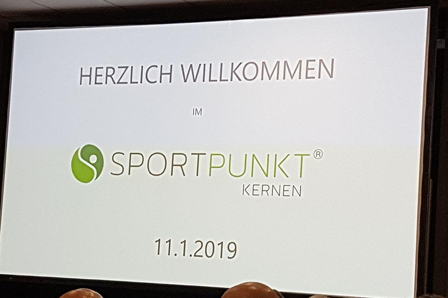 Bilder SPORTPUNKT Kernen Eröffnung - Beratungsprojekt Flowcon Willkommenstafel