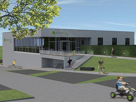 Sportpunkt Kernen - Spvgg-Rommelhausen Projektberatung Sportvereinszentrum der Flowcon Unternehmensberatung - Entwurfsskizze auch binder architekten