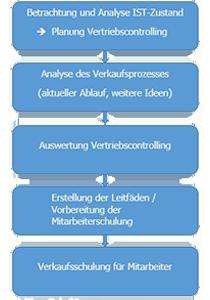 Verkaufsprozessberatung beim VfL Herrenberg - Projektverlauf mit der Flowcon Unternehmensberatung - Schaubild 5 Schritte